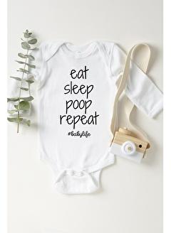 Happy Onesie Co Eat Sleep Poop Repeat Uzun Kol Çıtçıtlı Body